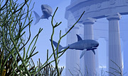 Greek Temple Posters - Two Mako Sharks Swim By An Underwater Poster by Corey Ford