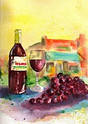 Wine Glasses Paintings - Two Mamas Gourmet Pizza by Sharon Mick
