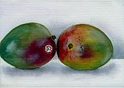 Mango Painting Posters - Two Mangoes Poster by Sarah Lynch