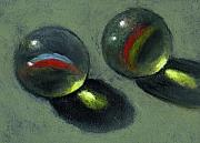 Painterly Pastels Posters - Two Marbles in Pastel Poster by Joyce Geleynse