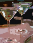 Most Commented Prints - Two Martini Lunch Print by David Lloyd Glover