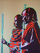 Masai Paintings - Two Masai Warriors by Gail Zavala