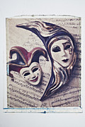 Jester Framed Prints - Two masks on sheet music Framed Print by Garry Gay