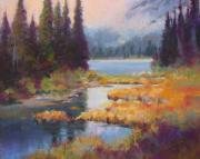 North Pastels Prints - Two Medicine Morning Print by Christine  Camilleri