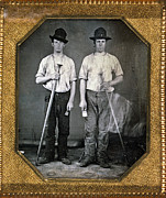 Factory Workers Framed Prints - Two Men Holding Floor Rammers, Foundry Framed Print by Everett