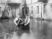 Natural Disaster Photos - Two Men In A Tub by Fpg
