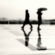 Black And White Paris Metal Prints - Two Men In Rain With Their Reflections Metal Print by Nadia Draoui