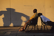 New Orleans Scenes Art - Two Men Relax On City Benches by Joel Sartore
