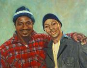 African Americans Painting Posters - Two Men Poster by Ruth Sievers