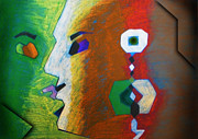 Human Pastels Prints - Two Minds  Print by Sanjeev Kumar Babbar