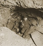 Precious Metals Prints - Two Miners Taking Out Ore In Tunnel Print by Everett