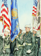 Patriotism Painting Posters - Two Months After 9-11  Veterans Day 2001 Poster by Carolyn Coffey Wallace