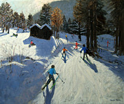 Skiing Paintings - Two mountain huts by Andrew Macara