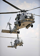 Rotorcraft Photo Prints - Two Multi-mission Mh-60r Sea Hawk Print by Stocktrek Images