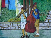 Urban Pastels Framed Prints - Two Musicians Framed Print by Reb Frost