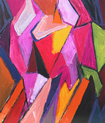 Abstract Hijab Paintings - Two Muslim Girls wearing the pink Hijab scarf by Kazuya Akimoto