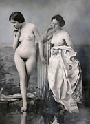 Daguerreotype Prints - TWO NUDE VICTORIAN WOMEN at the BATHS c. 1851 Print by Daniel Hagerman