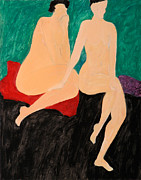 Figure Studies Posters - Two Nudes Poster by Lisa Baack