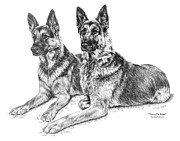 Shepherd Drawings - Two of a Kind - German Shepherd Dogs Print by Kelli Swan