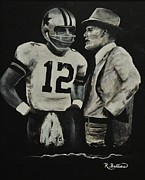 Roger Staubach Framed Prints - Two of the Greastest Minds in Pro-Football Framed Print by Robert Ballance