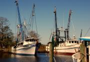 Shrimp Boat Prints - Two Old Shrimpboats Print by Susanne Van Hulst
