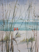 Gulf Of Mexico Painting Originals - Two Orange Chairs by Sandra Strohschein