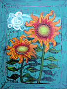 Sunflower Prints Prints - Two Orange Sunflowers Print by Genevieve Esson