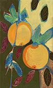 Orchard Painting Posters - Two Oranges Poster by Jennifer Lommers