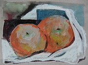 Food And Beverage Mixed Media Originals - Two Oranges by Mindy Newman
