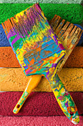 Paintbrush Photo Posters - Two paintbrushes on paint rollers Poster by Garry Gay
