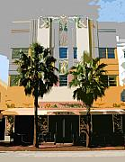 Florida Art Framed Prints - Two Palms Art Deco Building Framed Print by David Lee Thompson