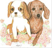 Puppies Drawings Framed Prints - Two Pals Framed Print by Therese A Kraemer
