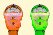 Featured - Two Park-O-Meter Parking Meter . One Hour Limit by Wingsdomain Art and Photography