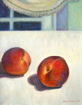 Peaches Painting Prints - Two Peaches at Night Print by Jane  Simonson