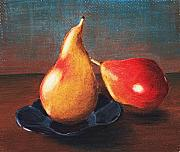 Food And Beverage Pastels Originals - Two Pears by Anastasiya Malakhova