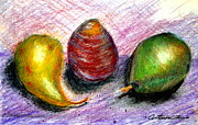 Pears Pastels Framed Prints - Two Pears and a Turnip    Framed Print by Antonia Citrino
