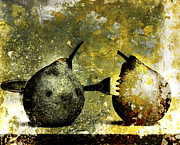Scrub Prints - Two pears pierced by a fork. Print by Bernard Jaubert
