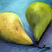 Yellow Drawings Posters - Two Pears Still Life Poster by Michelle Calkins