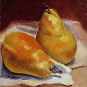 Still Life With Pears Framed Prints - Two Pears Framed Print by Vikki Bouffard