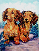 Dachshund Framed Prints - Two Peas in a Pod - Dachshund Framed Print by Lyn Cook
