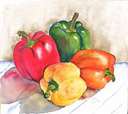 Yellow And Red Prints - Two Peppers Print by Diane Ziemski