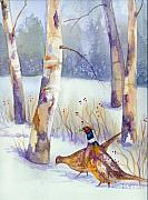Pheasants Prints - Two Pheasants in Winter Print by Peggy Wilson