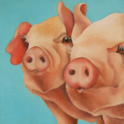 Pig Paintings - Two Pigs by Veronique Le Merre