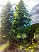 Stormy Weather Paintings - Two Pines by Gloria Avner