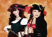 Royal Ladies Posters - Two Pirate Ladies Poster by Clarence Alford
