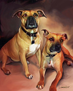 Spano Posters - Two Pit Bull Terriers Poster by Michael Spano