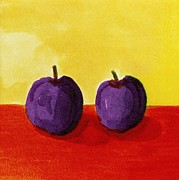 Plum Paintings - Two Plums by Michelle Calkins