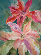 Poinsettias Paintings - Two Poinsettias by Charme Curtin
