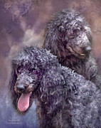 Animal Art Print Mixed Media Posters - Two Poodles Poster by Carol Cavalaris