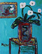 Primitive Raw Art Paintings - Two Pots-White Orchids by Mary Carol Williams